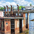 The Sunken Tugboat Fine Art Photography - Digital Painting By Mary Lou Chmura by Mary Lou Chmura