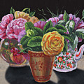 Three Vases With Roses Floral Impressionism  by Irina Sztukowski