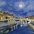 Tiber River At Night by Laurie Morgan