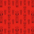 Tikis On Red by Donna Mibus