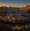 Toledo Spain Cityscape At Dusk by Joan Carroll
