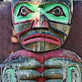 Totem Pole Detail - Thunderbird Park by Peggy Collins