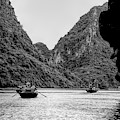 Touring Ha Long Bay Row Boats People Bw by Chuck Kuhn
