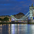 Tower Of London And Tower Bridge At Night Panoramic by Adam Romanowicz