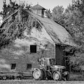 Tractor And Vintage Barn Farmhouse - Monochrome Edition by Gregory Ballos