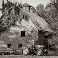 Tractor And Vintage Barn Farmhouse - Sepia Edition by Gregory Ballos