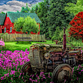 Tractor In The Garden  by Debra and Dave Vanderlaan