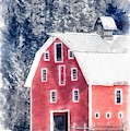 Traditional Red Barn Croydon New Hampshire Winter Watercolor by Edward Fielding