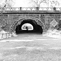 Trefoil Arch Central Park Black And White by Sharon Popek