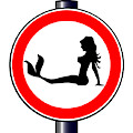 Trucker Mermaid Road Sign by Bigalbaloo Stock
