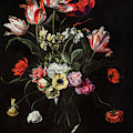 Tulips, Daffodils, Carnations, Poppies, Anemones, And Other Flowers In A Glass Vase On Wooden Ledge by Jean Picart