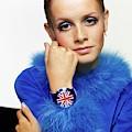 Twiggy In Blue With Union Jack Watch by Bert Stern