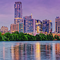 Twilight Panorama Of Downtown Austin Skyline And Lady Bird Lake - Austin Texas Hill Country by Silvio Ligutti