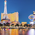 Twilight Panorama Of Neon Heaven - Las Vegas Strip Skyline - Mojave Desert Nevada by Silvio Ligutti