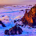 Twilight Waves Crashing On Rocks by Garry Gay