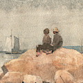 Two Boys Watching Schooners by Winslow Homer