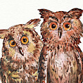 Two Brothers Baby Owls Watercolor by Irina Sztukowski