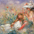 Two Children Seated Among Flowers, 1900 by Pierre Auguste Renoir