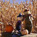 Two Cute Scarecrows With Pumpkins In The Dry Corn Field by Brenda Landdeck