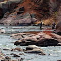 Two Fly Fishermen On The Platte In The Colorado Rockies by Steve Krull