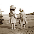 Two Little Girls On Beach At Lovers Point Pacific Grove Circa 19 by California Views Archives Mr Pat Hathaway Archives