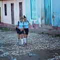 Two Schoolgirls In Trinidad Cuba by Joan Carroll