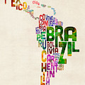Typography Map Of Latin America, Mexico, Central And South America by Michael Tompsett
