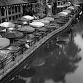 Umbrellas Of Casa Rio - San Antonio Riverwalk Monochrome by Gregory Ballos