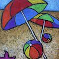 Umbrellas On The Beach by Karla Beatty