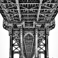 Under The Manhattan Bridge Bw by Susan Candelario