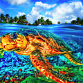 Under The Waves In Glowing Watercolors by Debra and Dave Vanderlaan