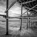 Uner The Pier In Black And White by Nick Noble