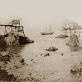 Unidentified Two Masted Schooner At Westport  Landing by California Views Archives Mr Pat Hathaway Archives