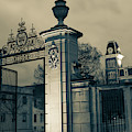 University Of Arkansas Old Main And Centennial Gate - Sepia Edition by Gregory Ballos