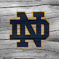 University Of Notre Dame Fighting Irish Logo On Rustic Wood by John Stephens
