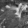 Upper Mesa Falls Portrait Black And White by Adam Jewell