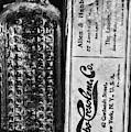 Vapo-cresolene Vaporizer Liquid Poison Bottle Black And White by Paul Ward