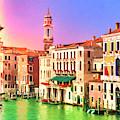 Venice Grand Canal Near Rialto Bridge by Dominic Piperata
