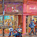 Verdun Montreal Storefront Painting Jessie Et Cie Beaute Candy Nail Shop Hockey Artist C Spandau Art by Carole Spandau
