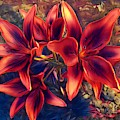 Vibrant Red Lilies by Art Shack