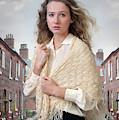Victorian Woman On A Cobbled Terraced Street by Lee Avison