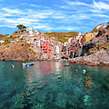 Village Of Riomaggiore Cinque Terre Italy - Dwp1721003 by Dean Wittle