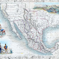 Vingage Map Of Texas, California And Mexico by Lisa Redfern