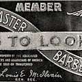 Vintage Associated Master Barber Sign Black And White by Paul Ward