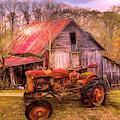 Vintage At The Farm Watercolors Painting by Debra and Dave Vanderlaan