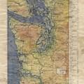 Vintage Auto Map Western Washington Olympic Peninsula Hand Painted by Lisa Middleton
