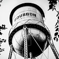 Vintage Bourbon Whiskey Water Tower In Black And White by Gregory Ballos