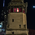 Vintage Chicago Bridge Tower At Night by Bruno Passigatti