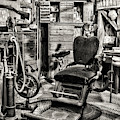 Vintage Dentist Office And Drill Black And White by Paul Ward