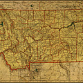 Vintage Map Of Montana by Design Turnpike